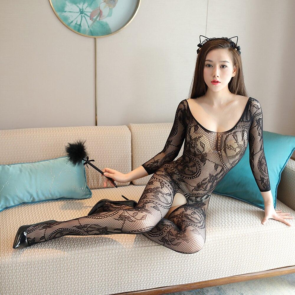 Sexy Langerie bielizna nocna bielizna koszula nocna body Mesh bowknot Floral bodystocking Intimate Catsuit podwiązka bez ramiączek drolls