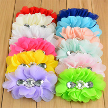30pcs/lot 12 Color U Pick 5 Large Ballerina Chiffon Flowers With Rhinestone Pearl Center DIY girls Hair AccessoriesTH87