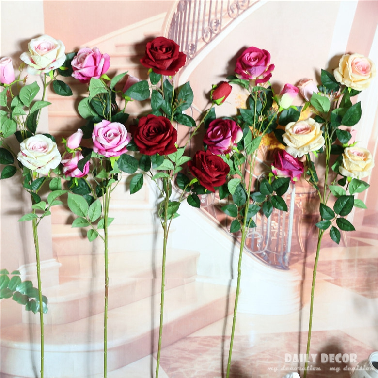 (12 pcs/lot ) wholesale 5 head long stem Velvet Rose artificial flowers 92cm fake rose silk flower wedding decorative flowers