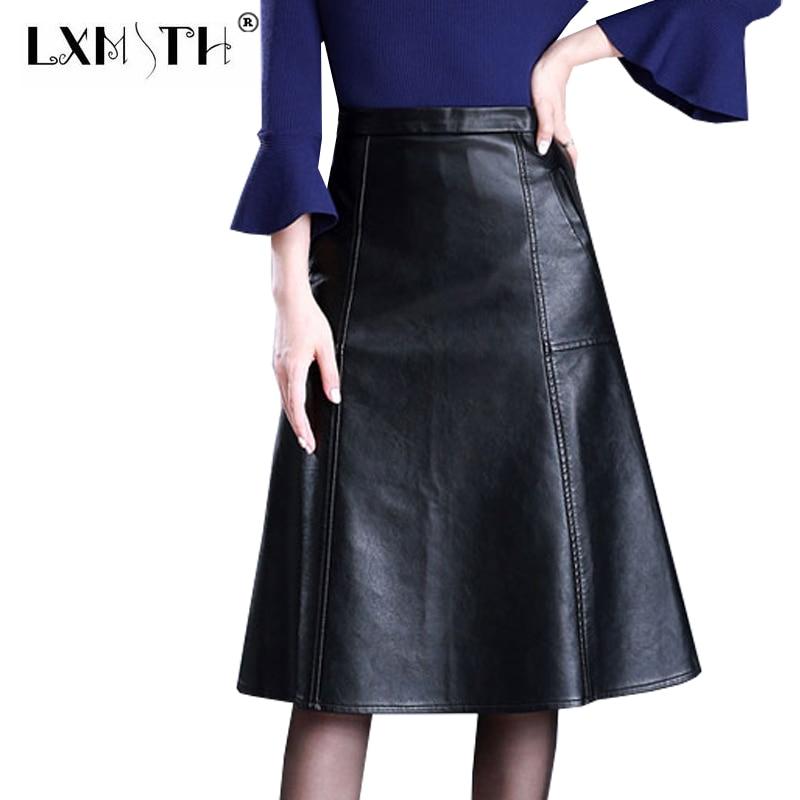 3XL 4XL A-line Կաշվե փեշ բարձր իրանի - Կանացի հագուստ