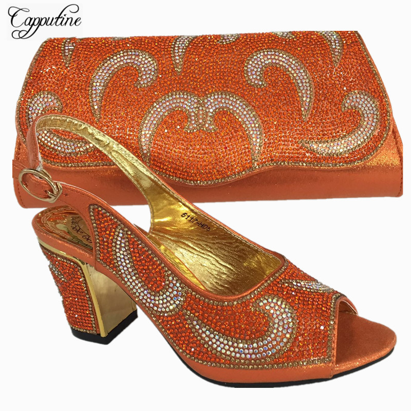 Capputine Nigerian Decorated With Rhinestone Women Shoes And Bag Set New Italian Shoes And Purse Set For Party Dress BL735C characteristic floral and butterfly shape lace decorated body jewelry for women