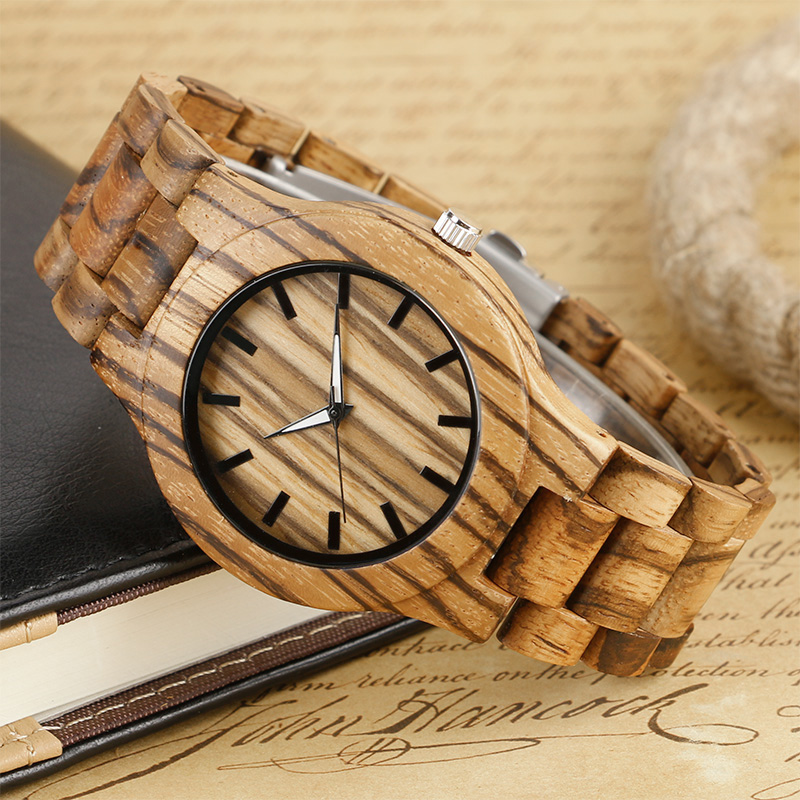 Luxury Quartz Men Wood Watches Analog Fashion Creative 2017 Handmade Stripe Top Brand Wooden Wristwatch relogio masculino Clock yisuya simple fold clasp quartz wristwatch handmade bamboo analog women creative watches men bangle nature wood relogio gift