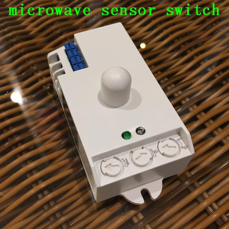 Time Delay Adjustable 360 Degree Microwave Radar Sensor AC220V-240V 5.8GHz Microwave Light Switch Motion Sensors CM097 free shipping newest time delay adjustable ac110v motion sensor light switch 360 degree pir infrared light sensor 1pc