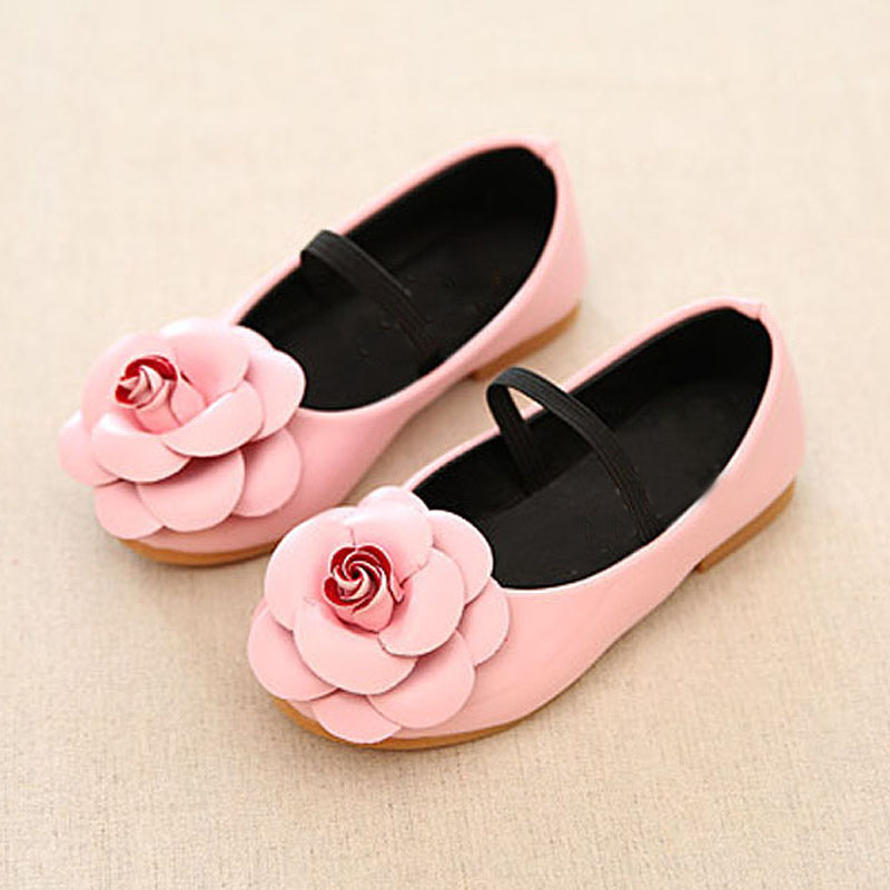 2018 New Flower Girl Shoes Childrens Wear Black Red Pink Flat Shoes Children Princess PU Girls Shoes