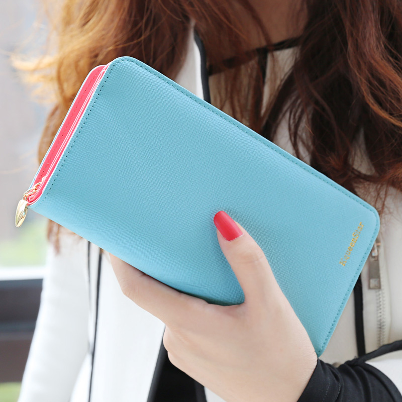 Hot sale fashion high capacity women wallets contrast color zipper clutch womens long design wallet purse freeshipping