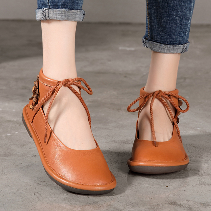 2019 new Italian high end hand carved flower Wax oil leather strappy Vintage ethnic flat women 39 s shoes PVC Comfortable sole in Women 39 s Flats from Shoes