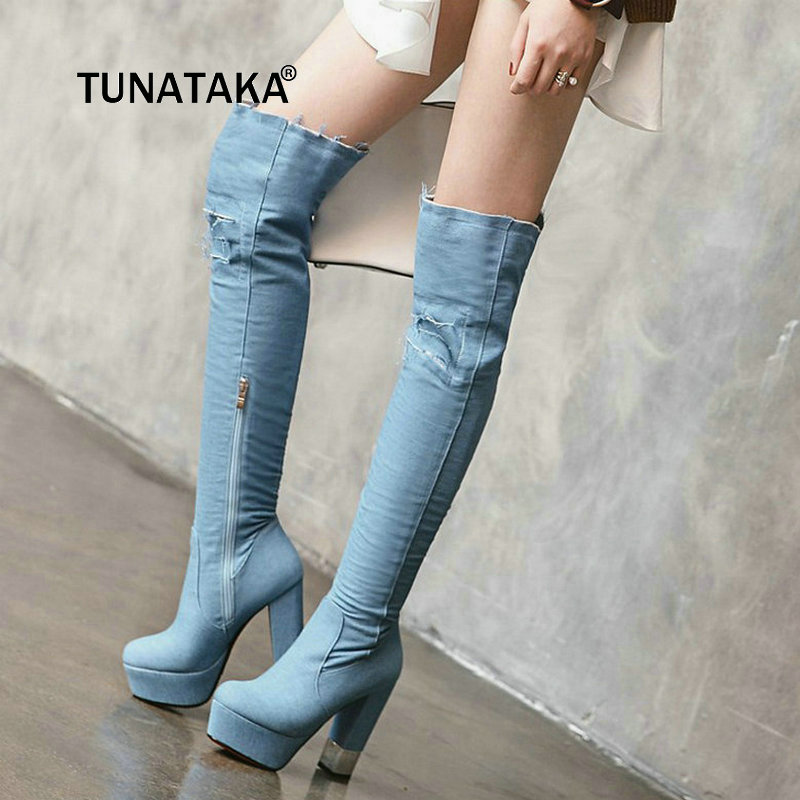 New Warm Winter Fashion Holes Denim Platform With Side Zipper Over The Knee Boots Women Thick High Heel Blue Thigh Boots 2017 winter women riding boots high heel fold over design near the ankle with lace detailing at side over the knee boots