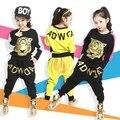 2017 da Cópia Do Tigre Conjunto de Roupas Meninas Primavera Outono Novas Crianças Meninas Conjuntos de esportes Terno de Manga Longa Top & Calças Harém Hip Hop roupas