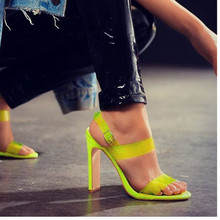 2019 New Yellow High Heels Peep Toe Transparent PVC Sandals Women's Shoes Summer Pumps Womens Shoes Buckle Strap Sandalias Mujer цена в Москве и Питере