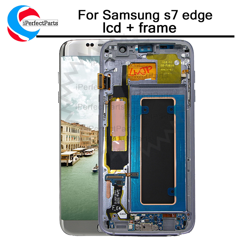 100 tested Super AMOLED LCD Display Touch Screen with frame for Samsung Galaxy S7 edge G935F