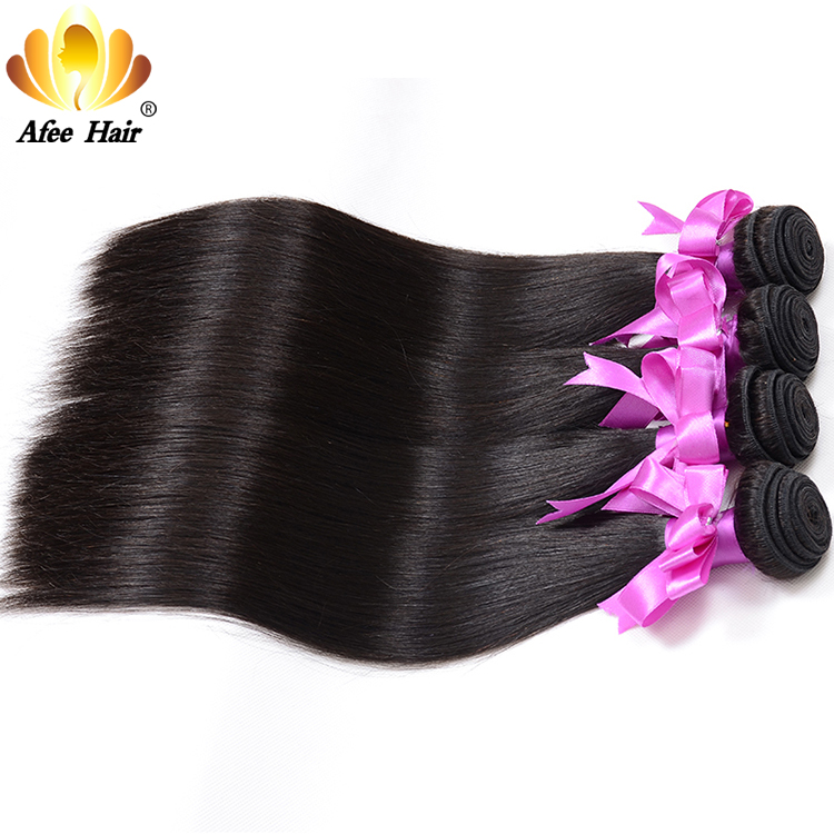 Aliafee Hair Brasilian Straight Hair Weave 4 Bundles Deal Remy Hair - Menneskelig hår (for svart)