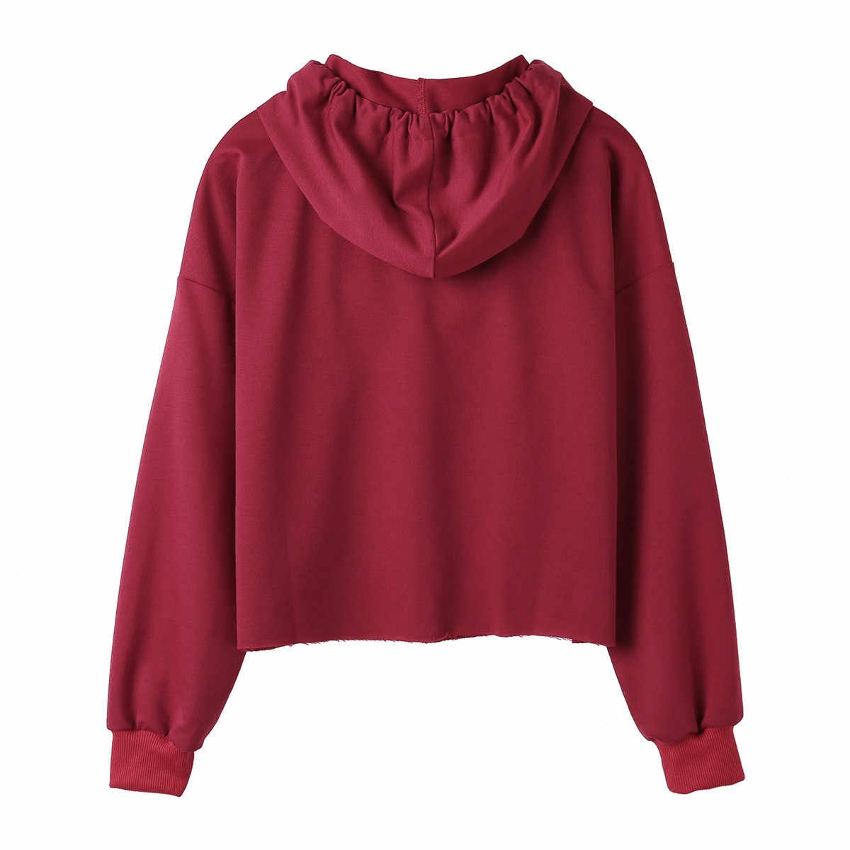Kpop Hoodies Wanita Kucing Gambar Lengan Panjang Sweatshirt Pullover Warna Solid Musim Gugur Streetwear Hip Hop Atasan Толстовка Женская