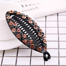 Fancyin Luxury 12cm large size Crystal Long colorful rhinestones fish banana hair claw clip Hair Accessories for women 1 Piece