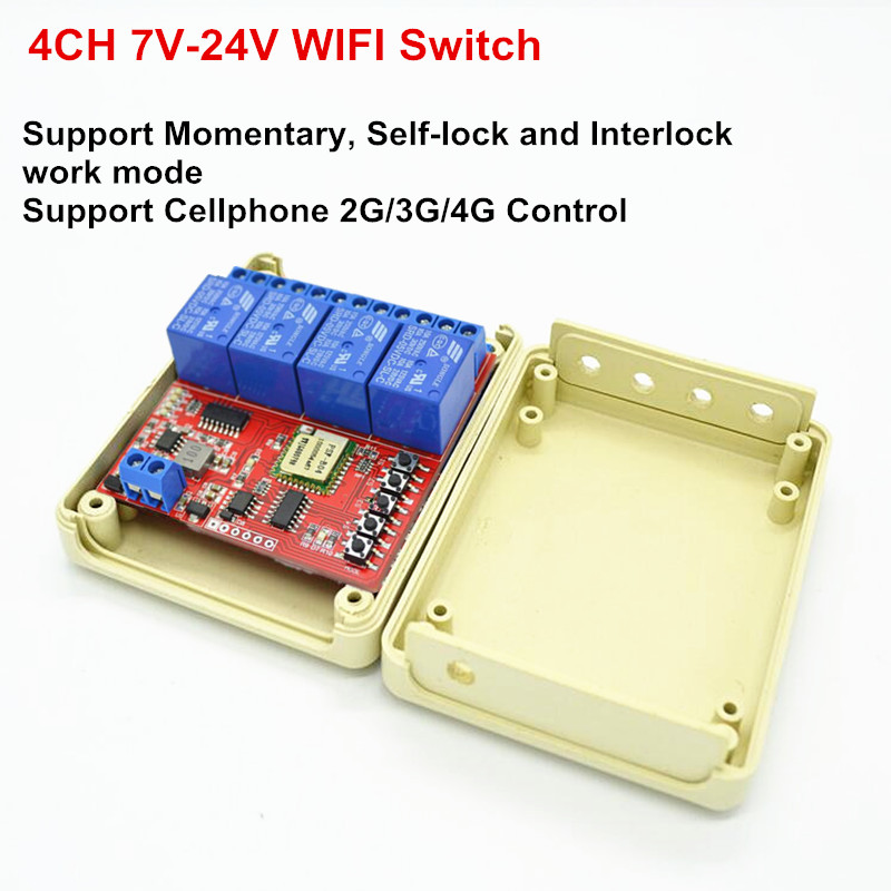 WiFi Switch Wireless 4CH 12V DC wi-fi Interruptor Controlled by Smartphone APP On Off switches for Home Automation Light 2017 new 1ch dc 7v 9v 12v 24v wifi switch smart home module momentary selflock interruptor for home automation light garage door