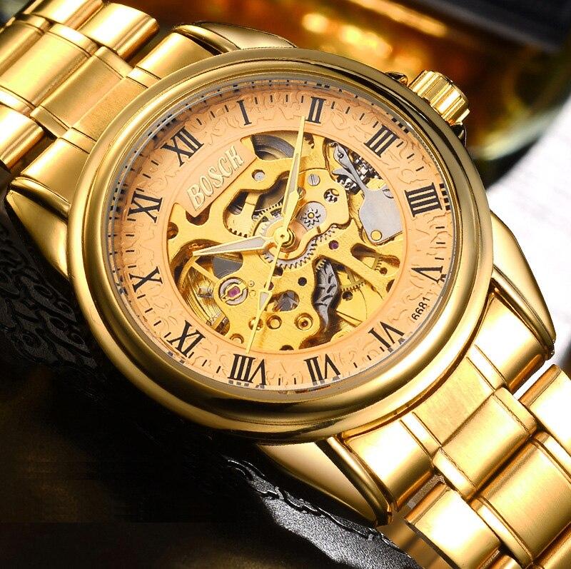 цена на Bosck Top Luxury Brand Waterproof Mechanical Watch Men Gold Automatic Self Wind Watches Golden Stainless Steel Wristwatch