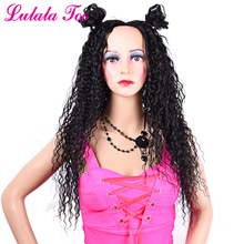 Natural Black Curly Synthetic Hair Wig For Women 26inch Long Dominican Curl Heat Resistant Soft Lace Full Machine Made