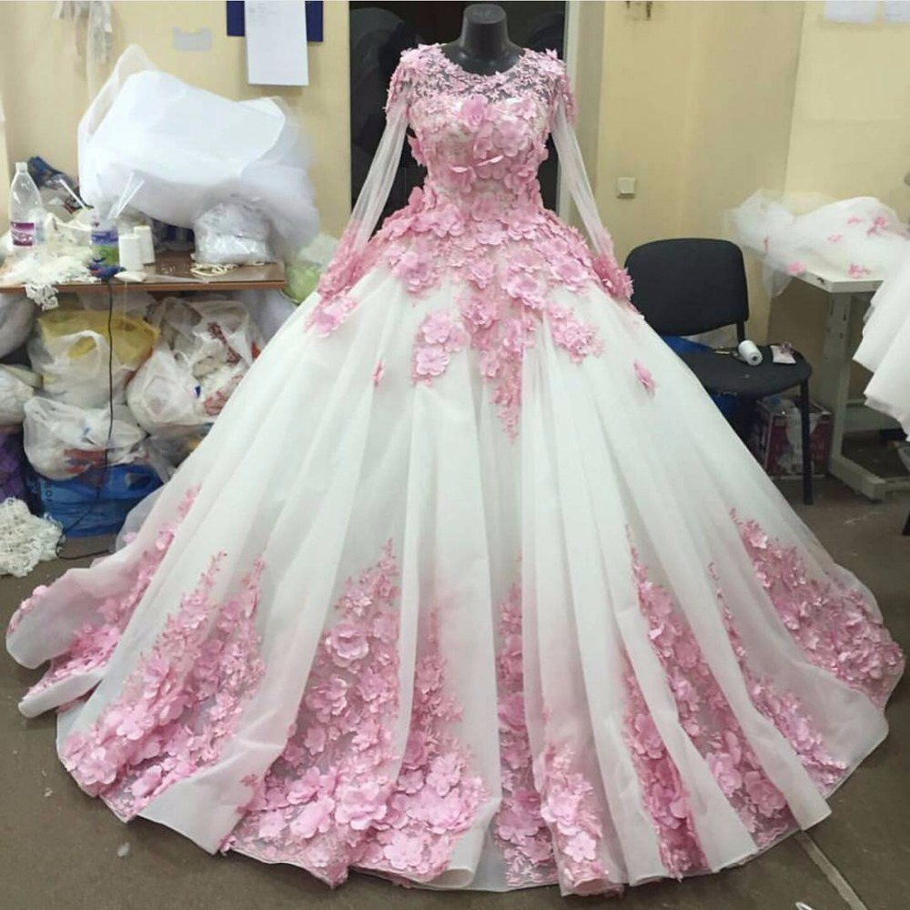 Flower Floral Wedding Gowns : Aliexpress buy full sleeve white organza pink