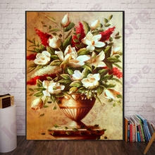 Custom DIY Number Painting Flowers Bonsai Canvas Painting for Vintage Home Decorations Paint By Numbers Coloring by Numbers Gift недорого