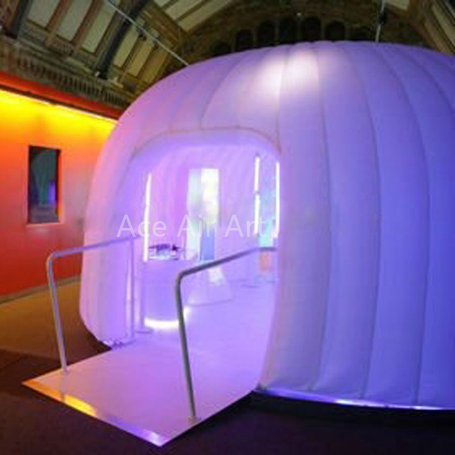High-quality grand photo dome white inflatable booth,led dome photo backdrop with white led bulbs