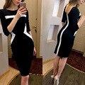 2017 Women Autumn Winter black formal office Business Dress knitted striped Suit vestido Elegant workwear pencil dress XL XXL