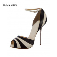 Black and White Stiletto Heels Dress Shoes Ankle Strap Pumps Women Shoes Plus Size Talon Femme Cocktail & Party Fashion HighHees