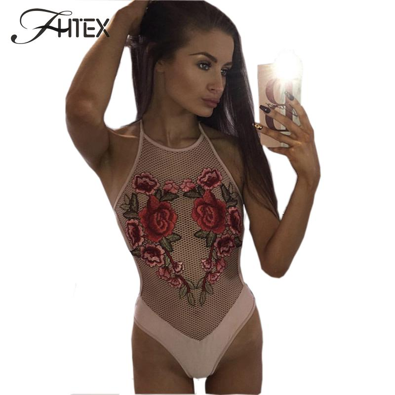 FHTEX Summer New Fashion Embroidery Bodysuits For Women Sexy Lace Flower Halter Straps Hight Leg Romper Mesh Jumpsuit Catsuits