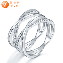 FYM Beautiful Style Cubic Zircon Real Silver Color Ring for Wedding Women Finger Rope Pattern Jewelry Bridal Rings fym beautiful style cubic zircon real silver color ring for wedding women finger rope pattern jewelry bridal rings