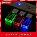 YUFANYF 2017 pendrive 3 colors Red / blue / green LED JAGUAR car LOGO USB falsh drive 4GB 8GB 16GB 32GB U Disk crystal gift