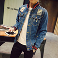 New 2016 Denim Jacket Men Striped Baseball Collar Ripped Holes Jeans Coats Male Slim Fit Motorcycle Windbreak Jackets For Men