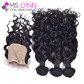 Malaysian natural wave with closure 3 bundles silk base closure Malaysian curly virgin hair with silk base closure