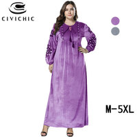 CIVI CHIC Plus Size Long Robe Femme Retro Loose Jurk Dames Ethnic Floral Embroidery Maxi Dress Flannel Velvet Women Gown DRS231