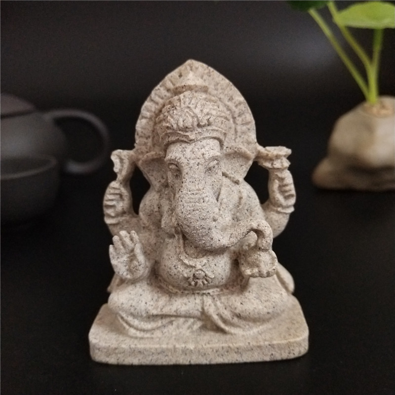 Ganesha Buddha Statue Natural Stones Elephant God Sculpture Figurines Garden SandStone Statues For Home Decoration Accessorie