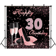 Happy 30th Birthday Backdrop High Heels Elegant Lady Photography Background Rose Gold Diamond Champagne Photo Backdrops(China)