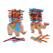2019 New balance game wooden Baby Toys Elephant/Camel Balancing Blocks Montessori  Educational Blocks Gift For Children boys wooden toys balance game interactive children parent educational toys for baby kids coordination learning balancing game gift