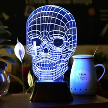 Amazing 3D Illusions Bulbing Acrylic Lamp Led Night Light Micro USB Lampe Table Desk Light Battery  Led Light 3D Lamp Skull