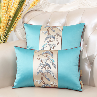 Последние европейские декоративные Чехлы для дивана, кресла, спинки, поясничная Подушка, роскошный Шелковый атласный чехол для подушки - Цвет: Небесно-голубой