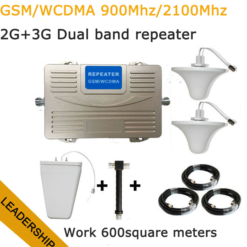 Work For 600 Square Meter Dual Band GSM/WCDMA 900Mhz 2100mhz 75db 27db Big Power 2G 3G Cell Phone Mobile Phone Repeater