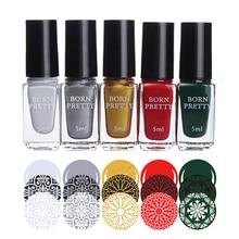 BORN PRETTY Nail Stamping Polish 5ml Colorful Stamping Varnish 5 Colors Manicure Nail Art Printing Polish