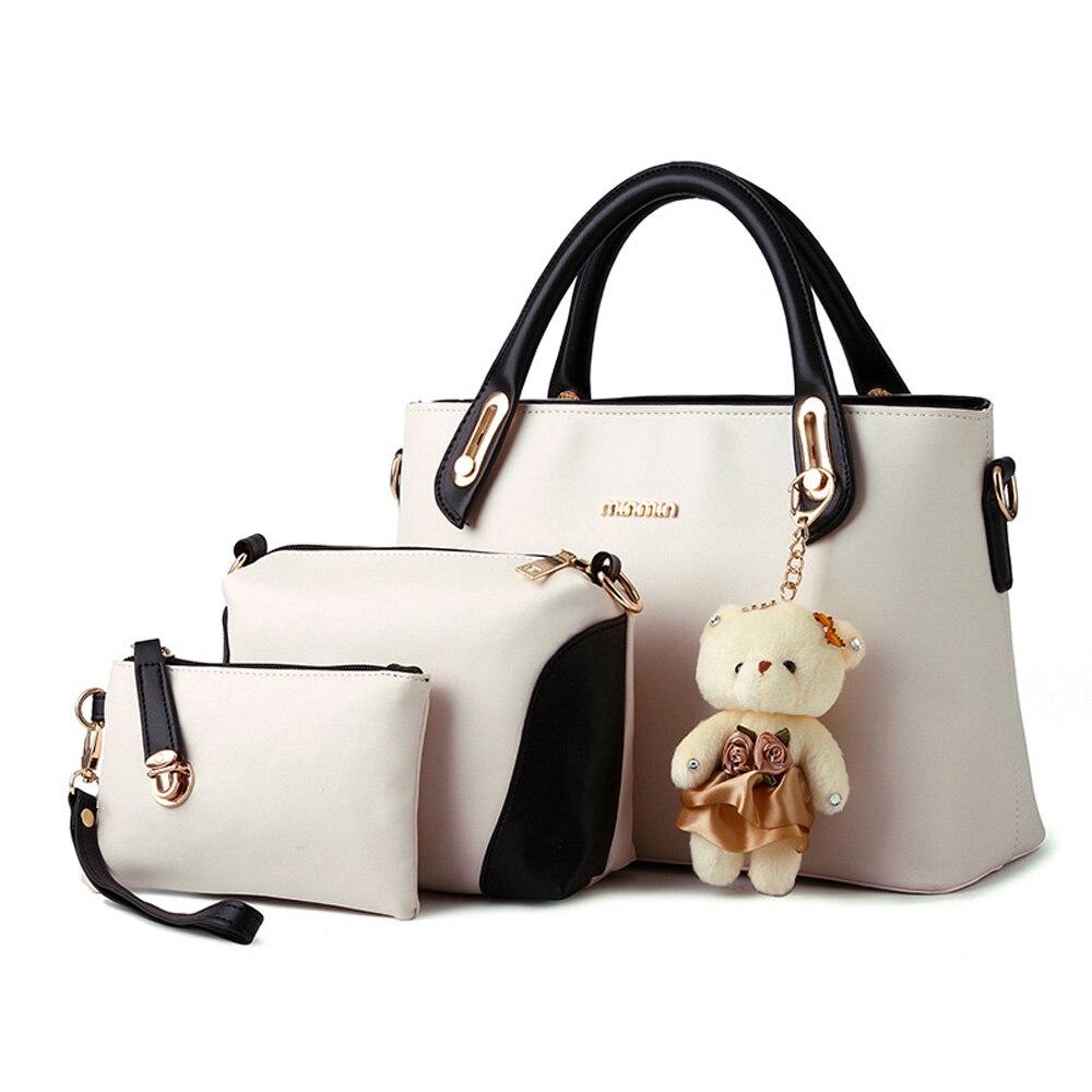 ФОТО 2016 New Fashion Women Bags Bolsa Feminina Composite Bags 3 Sets Tote Bags Crossbody Bags Purse