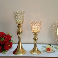 Gold Romantic Crystal Candle cup Holder Wedding Metal Candle Stand for Home Decoration Hotel Candle Centerpiece Wedding Props