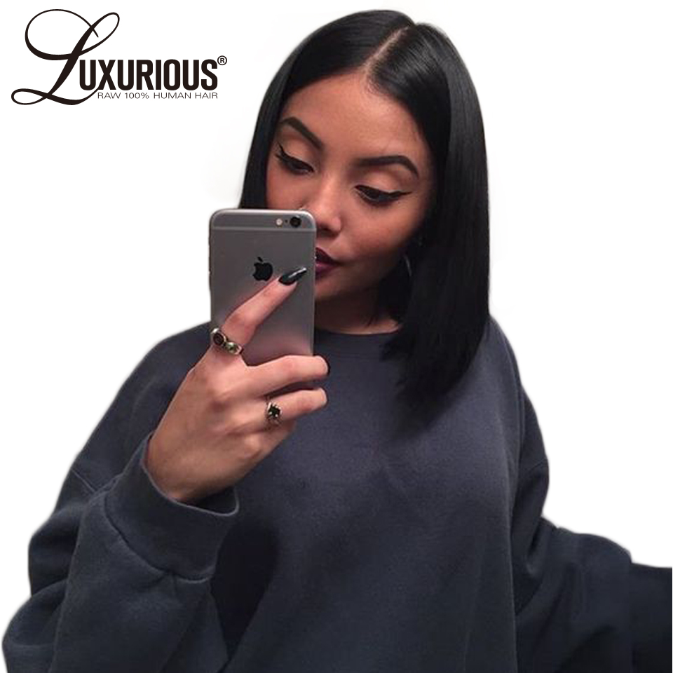 360 Lace Frontal Wig Short Bob Lace Front Human Hair Wigs 150 Density Pre Plucked Brazilian
