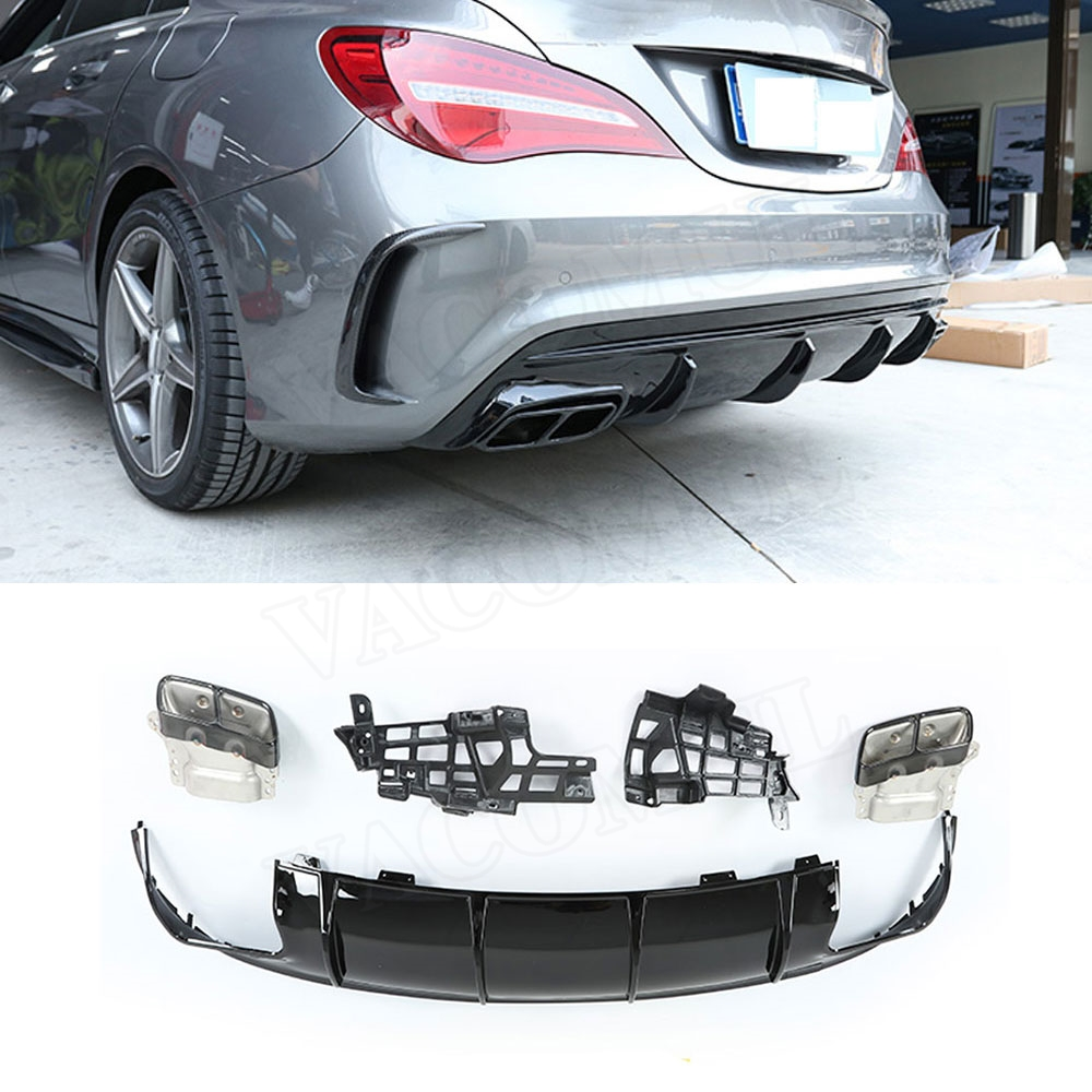 CLA Class PP Rear Bumper Lip Diffuser with Exhaust Tips for <font><b>Mercedes</b></font>-Benz CLA Class W117 CLA260 <font><b>CLA45</b></font> <font><b>AMG</b></font> Style 2013-2018 image