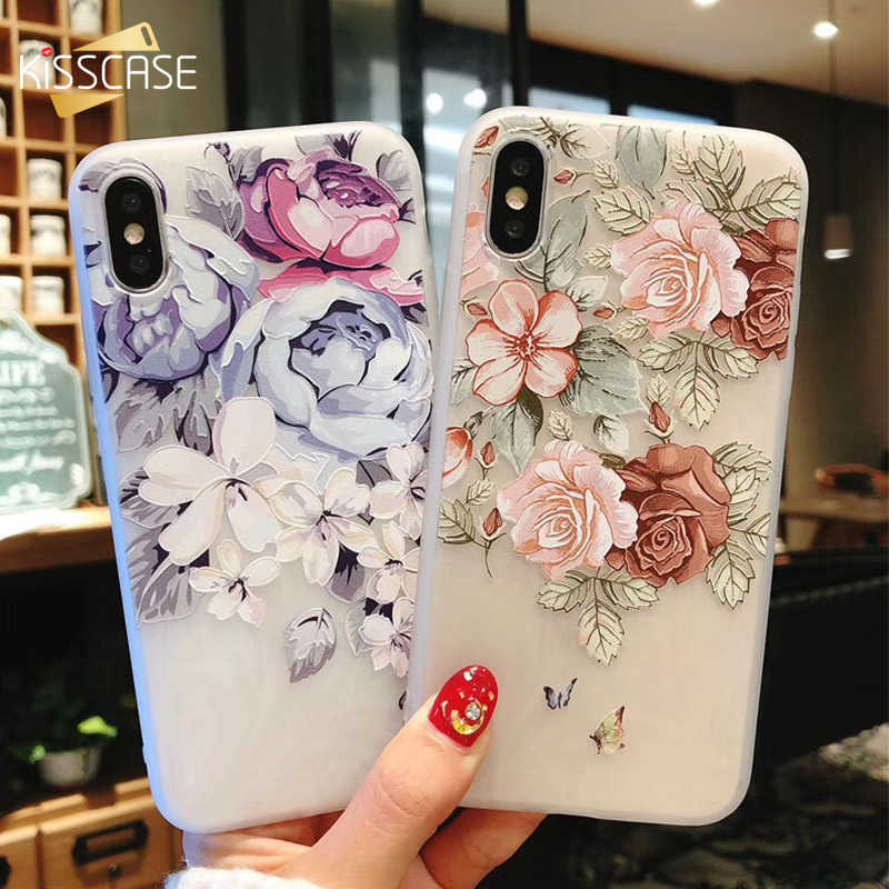 KISSCASE 3D Relief Floral Phone Cases For iPhone 6s 7 XS Max Girly Silicon Phone Cases For iPhone 6S 7 8 Plus XS XR Coque Capa