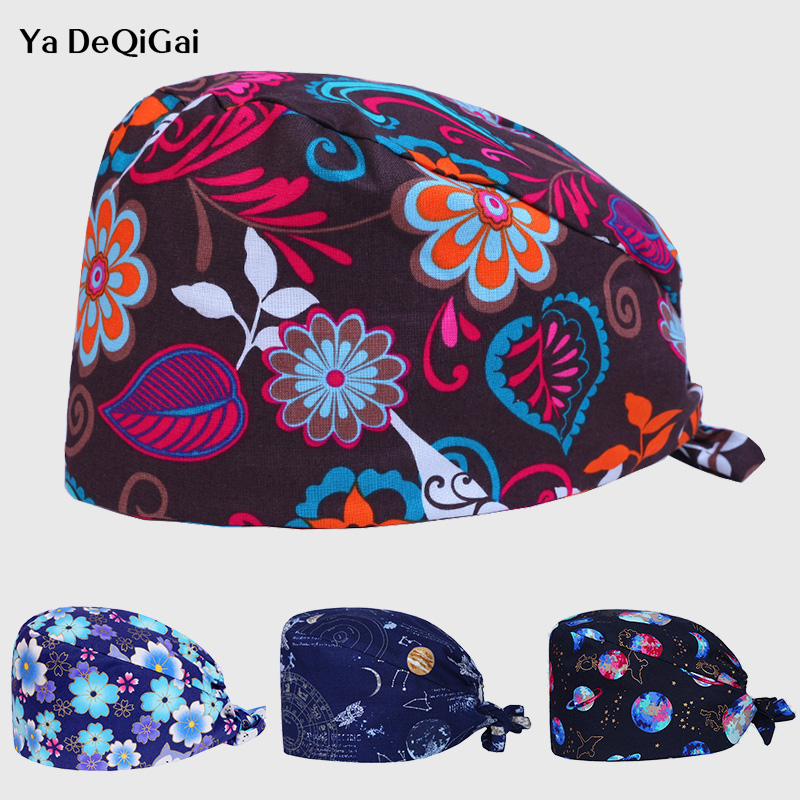 Breathable Cotton Adjustable Pet Hospital Cap Unisex Printed Medical Surgical Cap Dentistry Pharmacy Nurse Hats Beauty Salon Hat