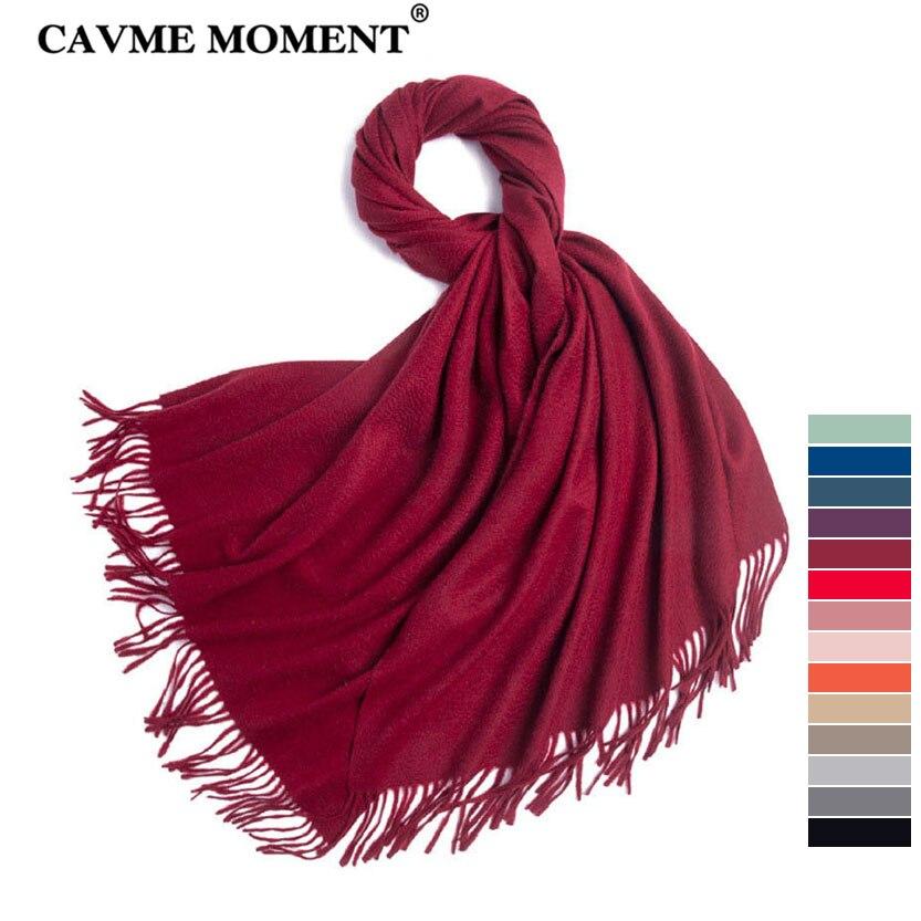 CAVME haute qualité 100% écharpe en cachemire pour dames Femme hommes foulards solides longues écharpes avec gland châle enveloppes 70*200cm 320g