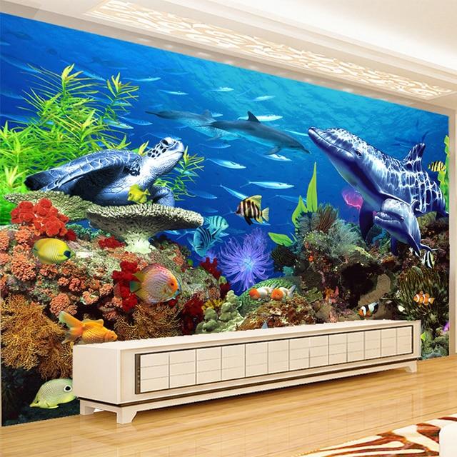 Custom mural wallpaper 3d embossed non woven lifelike for Aquarium mural wallpaper