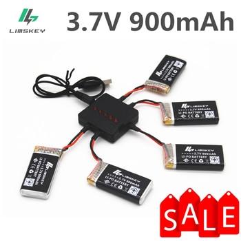 Limskey 900mAh 3,7 V LiPo batería + cargador USB para SYMA X5C X5 X5SW MJX X708 W RC Drone Quadcopter batería de repuesto de piezas