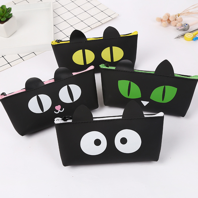 Simple Black Cat Pencil Case Student School Pencil Case Silicone Stationery Bag Cosmetic Bag Small Object Storage Bag