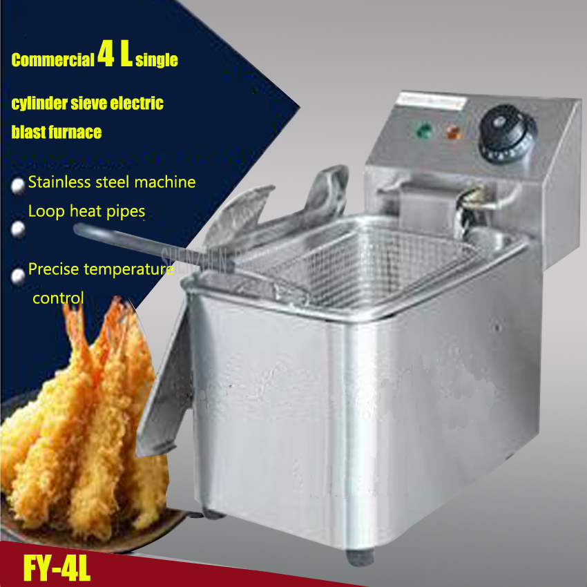 1PC  FY-4L Commercial Single-cylinder Open Fryer Chicken Frying Equipment Commercial Deep Fryer dual negative ion hdro sana ion cleanse detox foot spa double with infrared belt ah 06 foot massage footbath spa