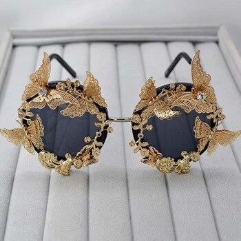 Gafas de sol barrocas súper lujosas de Metal para mujer, flores, gafas de sol de diseño de marca, accesorios de moda informales al aire libre